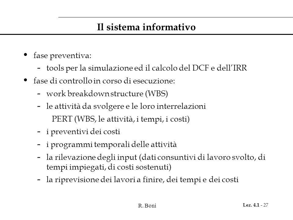 R. Boni Lez. 4.1 - 27 Il sistema informativo fase preventiva: - tools per la simulazione ed il calcolo del DCF e dell'IRR fase di controllo in corso d