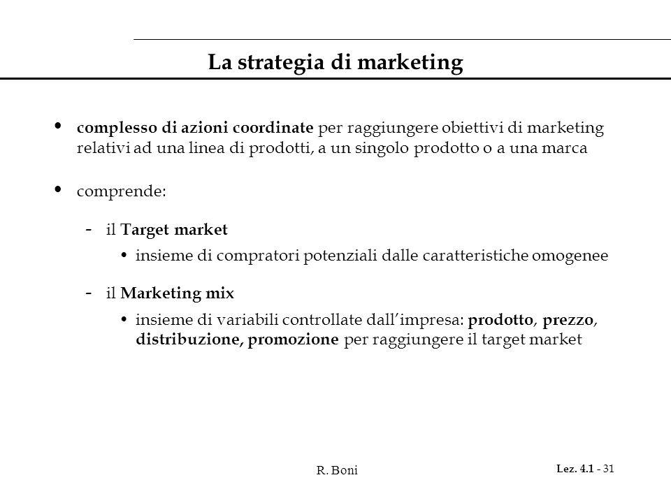 R. Boni Lez. 4.1 - 31 La strategia di marketing complesso di azioni coordinate per raggiungere obiettivi di marketing relativi ad una linea di prodott