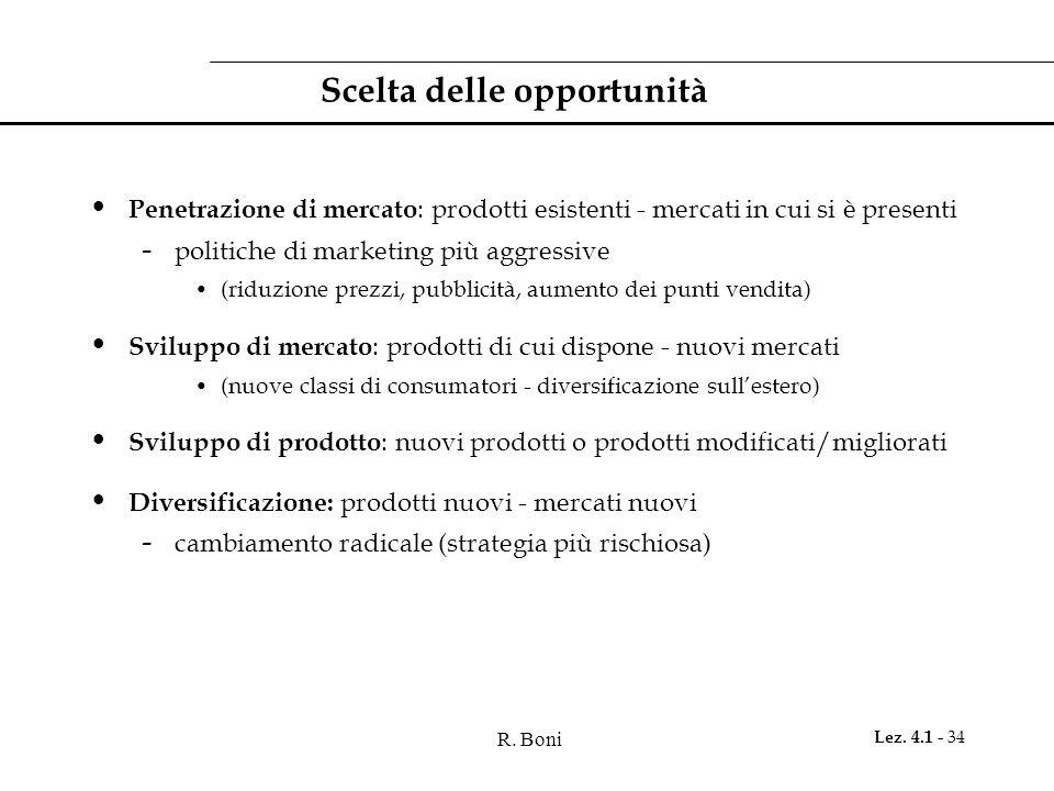 R. Boni Lez. 4.1 - 34 Scelta delle opportunità Penetrazione di mercato : prodotti esistenti - mercati in cui si è presenti - politiche di marketing pi