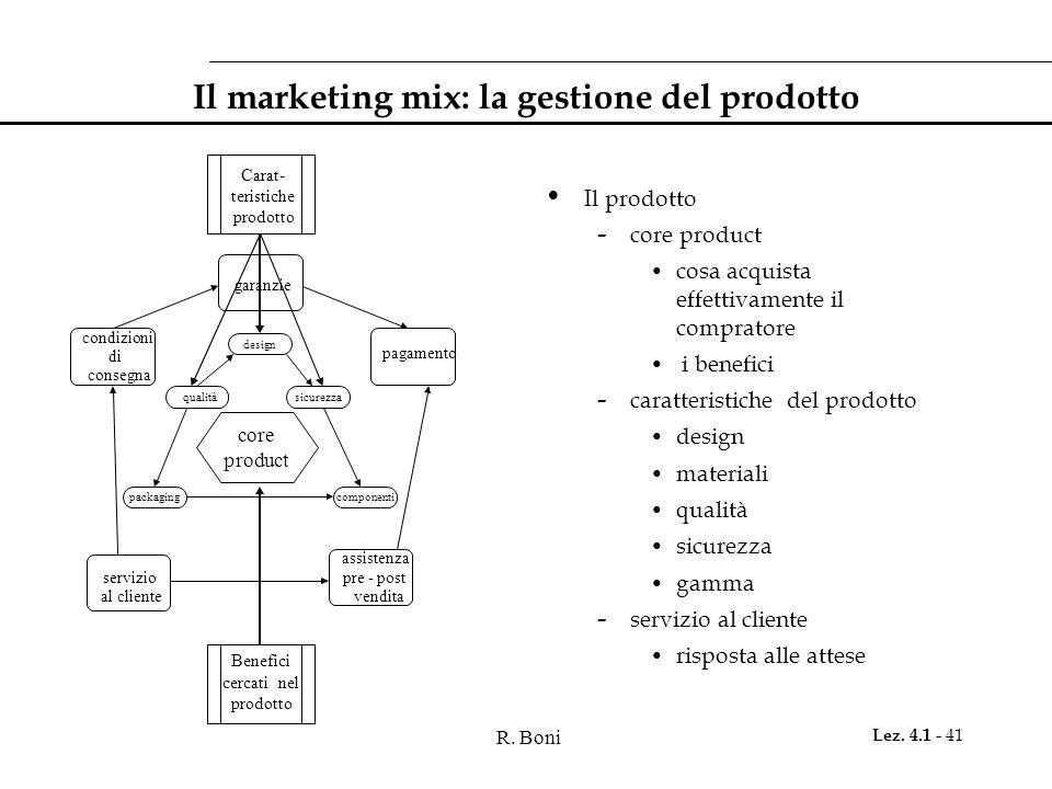 R. Boni Lez. 4.1 - 41 Benefici cercati nel prodotto assistenza pre - post vendita servizio al cliente Carat- teristiche prodotto condizioni di consegn