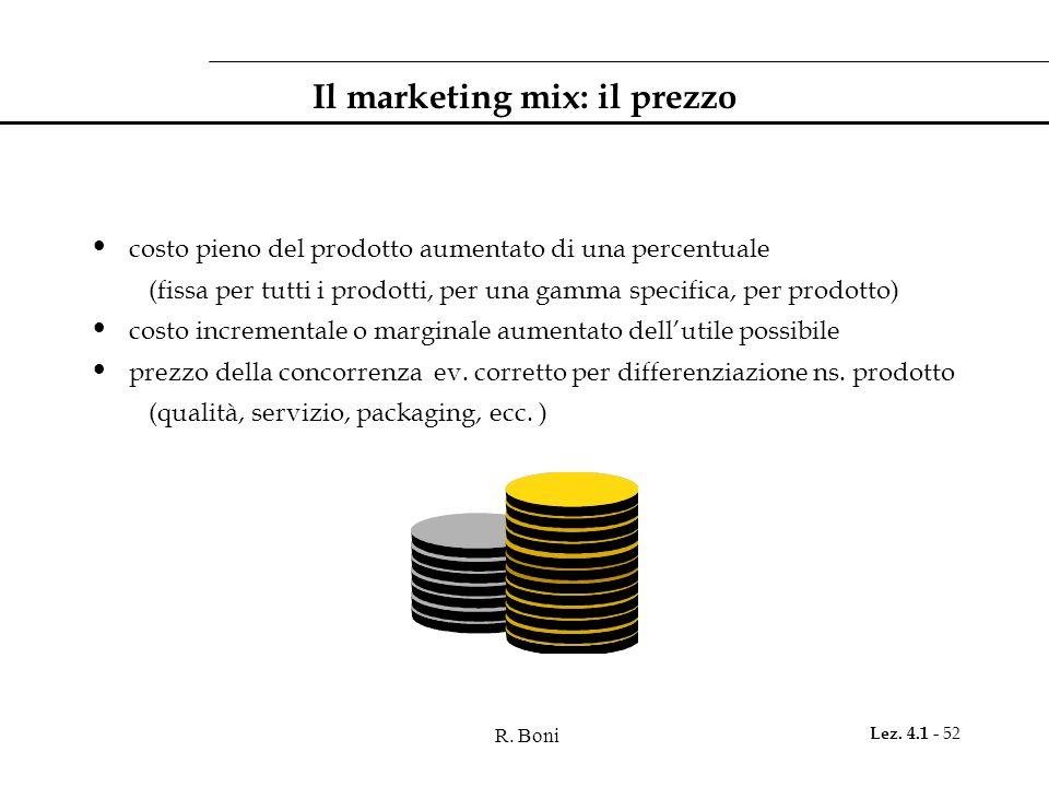 R. Boni Lez. 4.1 - 52 Il marketing mix: il prezzo costo pieno del prodotto aumentato di una percentuale (fissa per tutti i prodotti, per una gamma spe