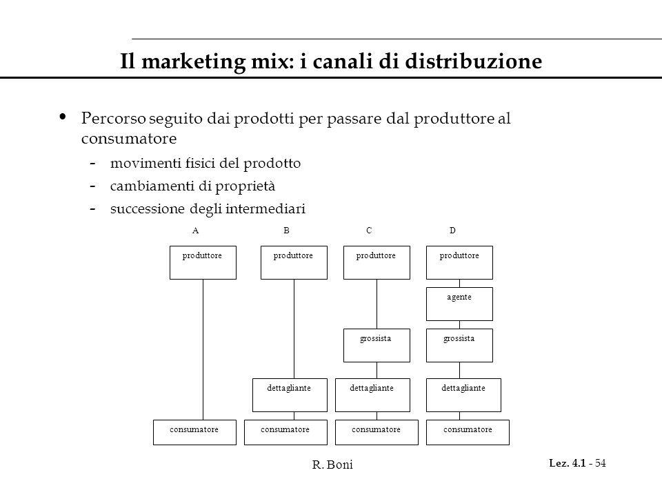 R. Boni Lez. 4.1 - 54 Il marketing mix: i canali di distribuzione Percorso seguito dai prodotti per passare dal produttore al consumatore - movimenti