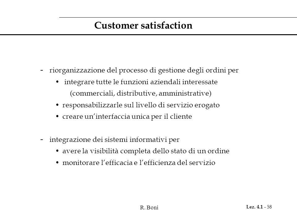 R. Boni Lez. 4.1 - 58 Customer satisfaction - riorganizzazione del processo di gestione degli ordini per integrare tutte le funzioni aziendali interes