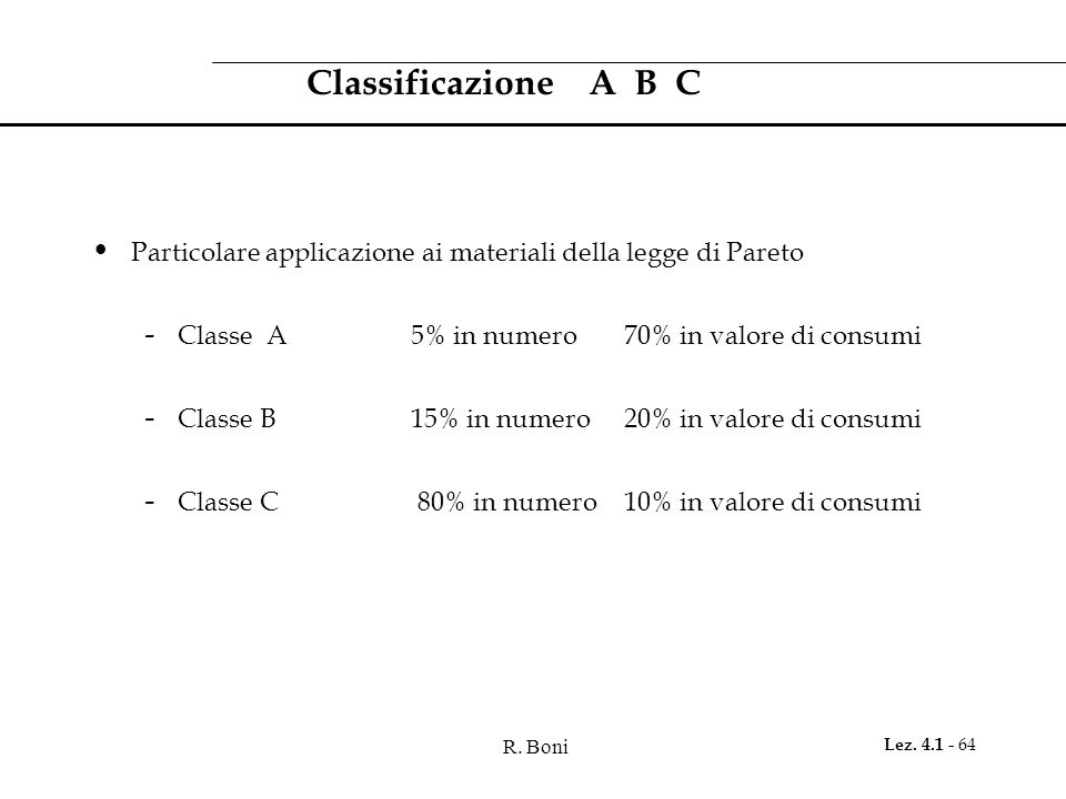 R. Boni Lez. 4.1 - 64 Classificazione A B C Particolare applicazione ai materiali della legge di Pareto - Classe A 5% in numero 70% in valore di consu