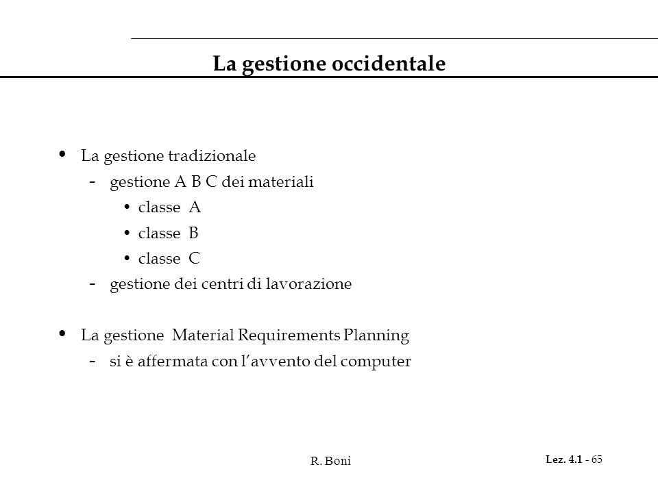 R. Boni Lez. 4.1 - 65 La gestione occidentale La gestione tradizionale - gestione A B C dei materiali classe A classe B classe C - gestione dei centri