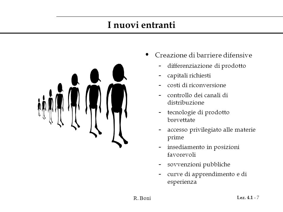 R. Boni Lez. 4.1 - 7 I nuovi entranti Creazione di barriere difensive - differenziazione di prodotto - capitali richiesti - costi di riconversione - c