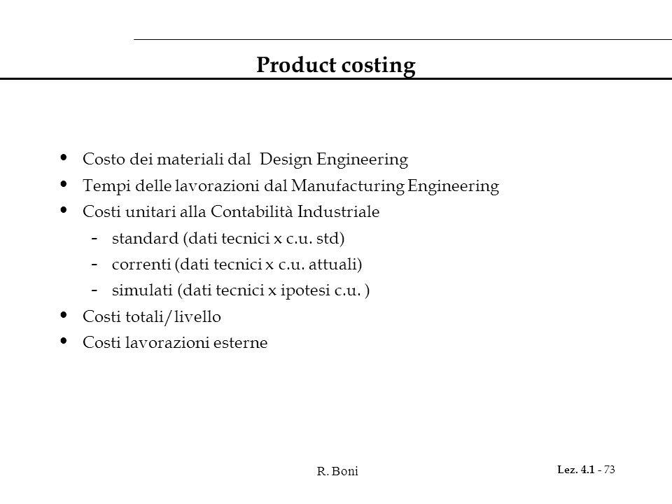 R. Boni Lez. 4.1 - 73 Product costing Costo dei materiali dal Design Engineering Tempi delle lavorazioni dal Manufacturing Engineering Costi unitari a