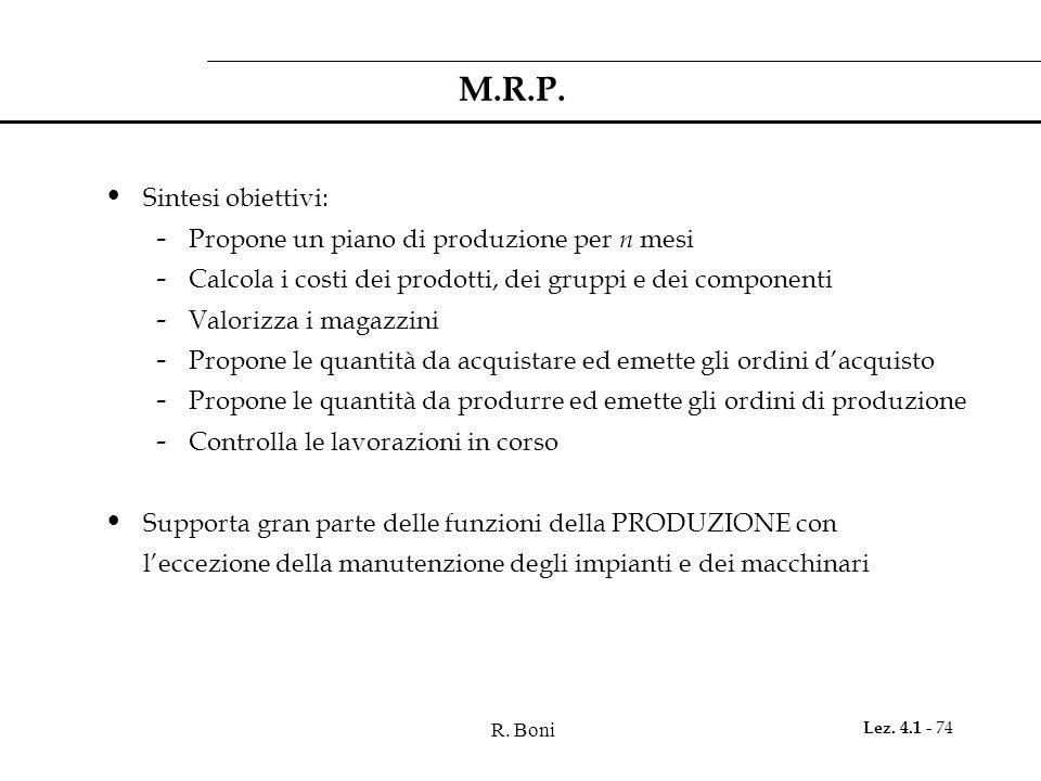 R. Boni Lez. 4.1 - 74 M.R.P. Sintesi obiettivi: - Propone un piano di produzione per n mesi - Calcola i costi dei prodotti, dei gruppi e dei component