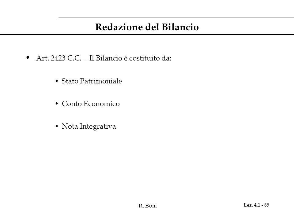 R. Boni Lez. 4.1 - 85 Redazione del Bilancio Art. 2423 C.C. - Il Bilancio è costituito da: Stato Patrimoniale Conto Economico Nota Integrativa