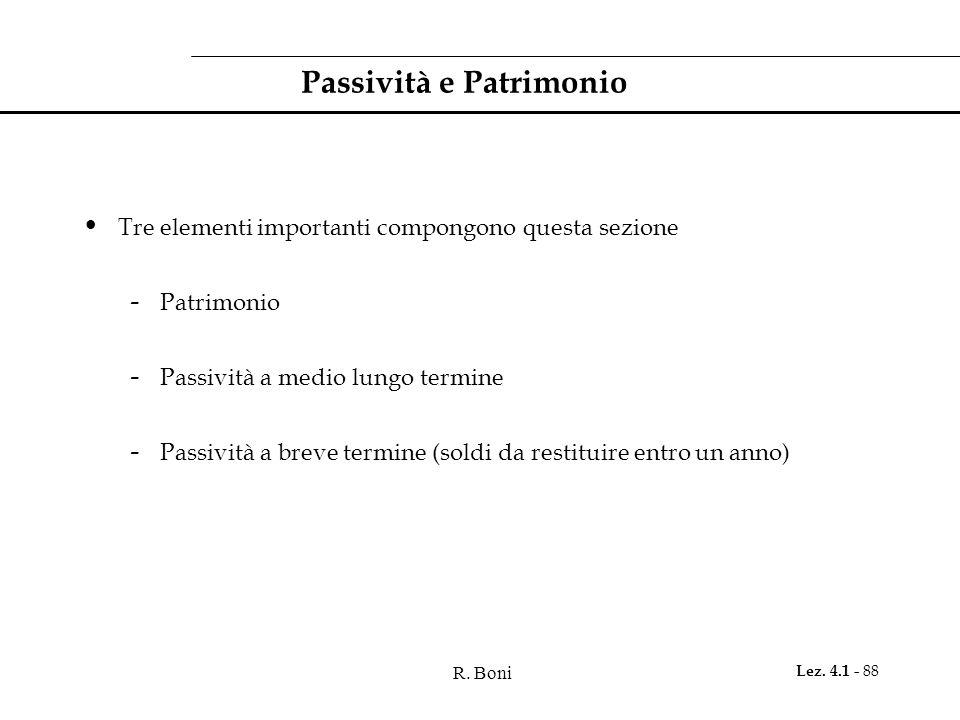 R. Boni Lez. 4.1 - 88 Passività e Patrimonio Tre elementi importanti compongono questa sezione - Patrimonio - Passività a medio lungo termine - Passiv