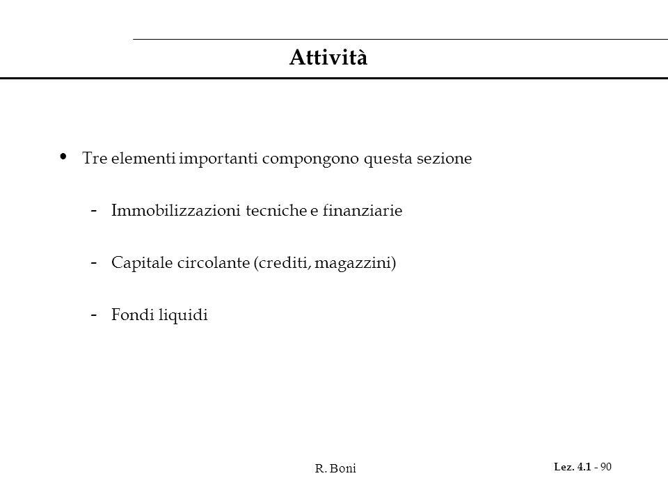R. Boni Lez. 4.1 - 90 Attività Tre elementi importanti compongono questa sezione - Immobilizzazioni tecniche e finanziarie - Capitale circolante (cred