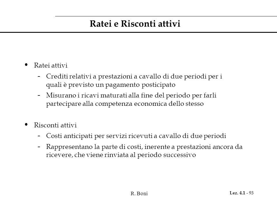 R. Boni Lez. 4.1 - 93 Ratei e Risconti attivi Ratei attivi - Crediti relativi a prestazioni a cavallo di due periodi per i quali è previsto un pagamen