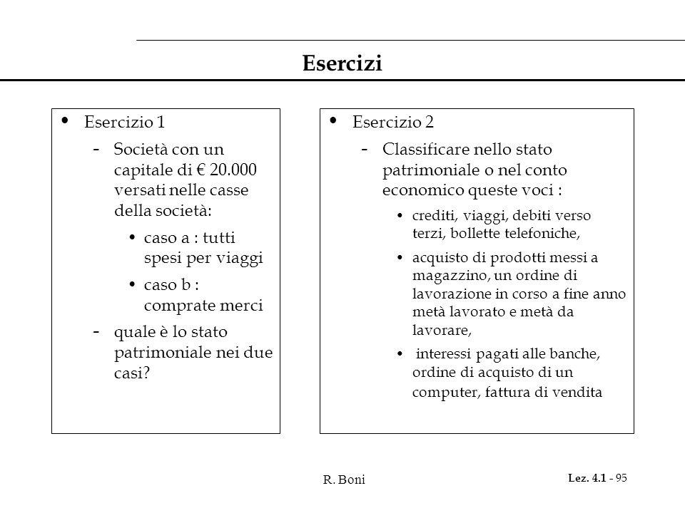 R. Boni Lez. 4.1 - 95 Esercizi Esercizio 1 - Società con un capitale di € 20.000 versati nelle casse della società: caso a : tutti spesi per viaggi ca