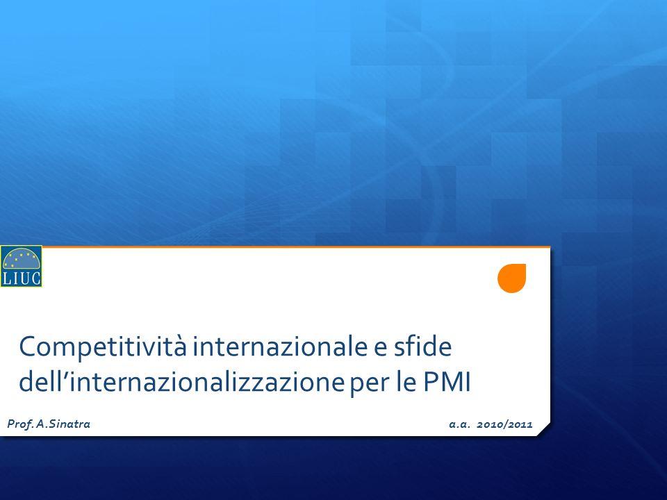 Competitività internazionale e sfide dell'internazionalizzazione per le PMI Prof.