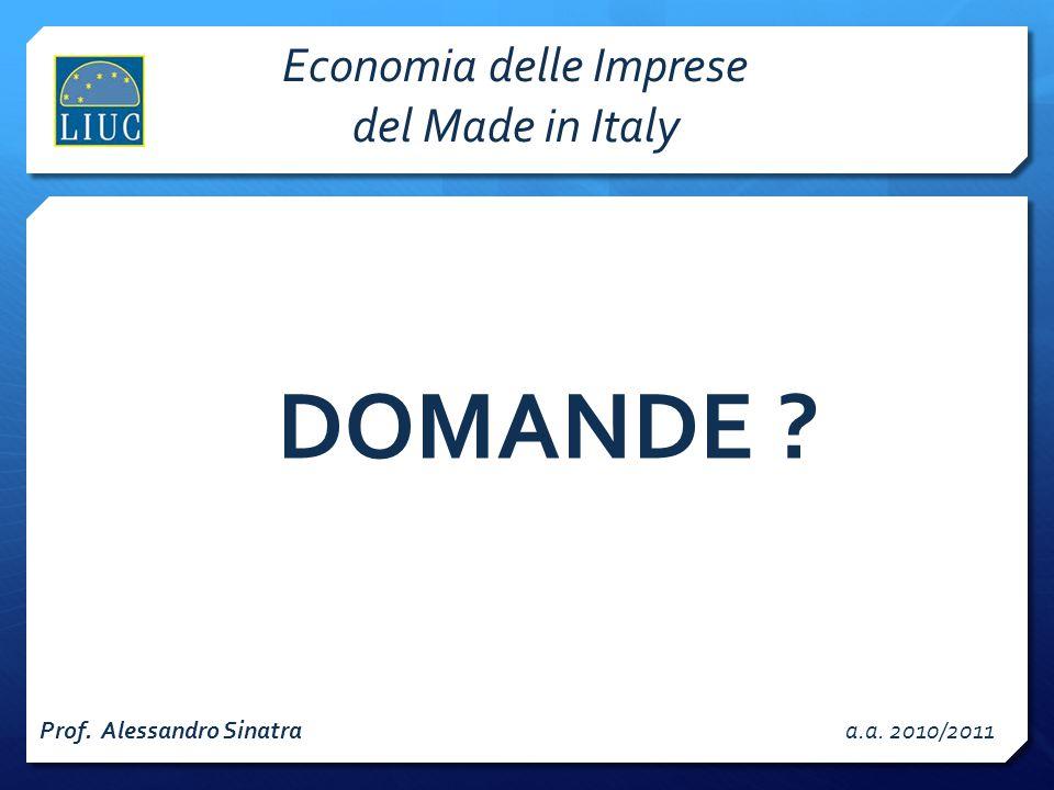Prof. Alessandro Sinatraa.a. 2010/2011 DOMANDE ? Economia delle Imprese del Made in Italy