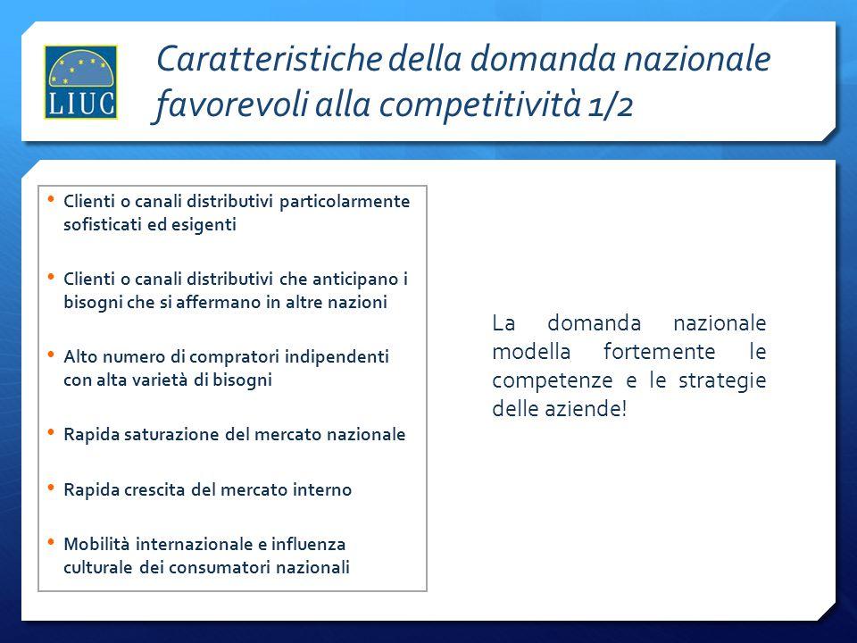Fornitori qualificati e disponibili al continuo sviluppo congiunto di innovazioni Fornitori non captive che disseminano conoscenze nel settore Fornitori globali a loro volta e disponibili a scambiare le informazioni raccolte sui mercati esteri Industrie complementari con cui coordinare e condividere parti della catena del valore (ricerca, canali distributivi, promozione etc…) Il successo internazionale di molte nazioni, in particolare l'Italia si fonda su cluster di settori collegati.