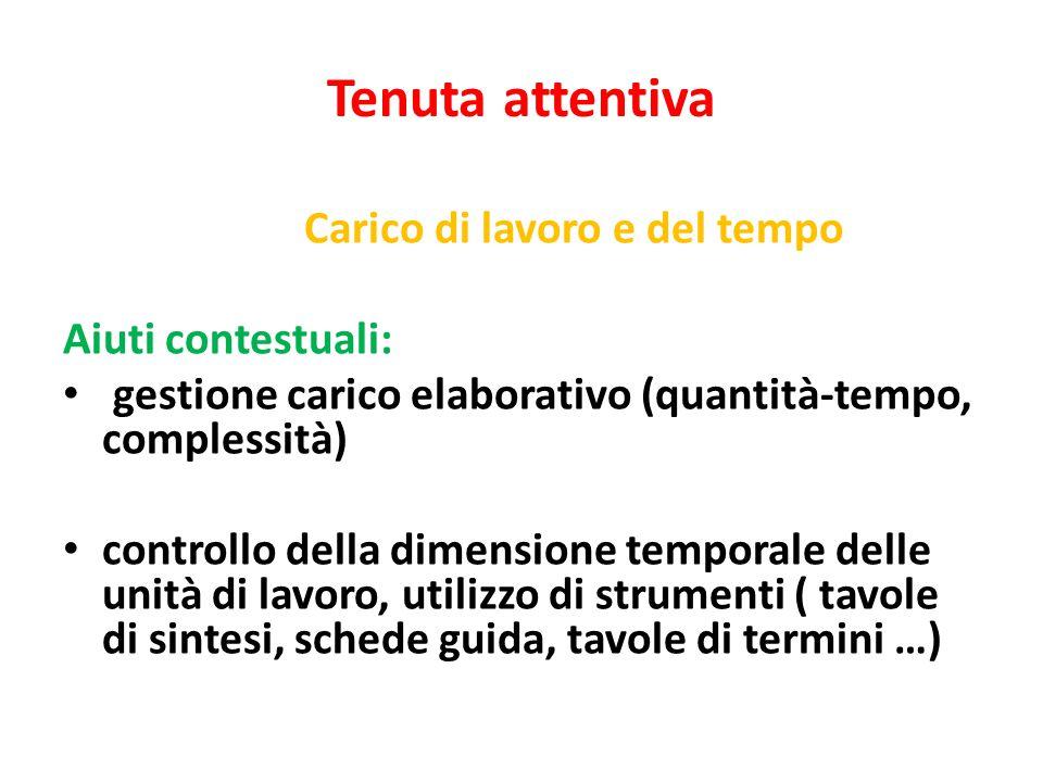 Tenuta attentiva Carico di lavoro e del tempo Aiuti contestuali: gestione carico elaborativo (quantità-tempo, complessità) controllo della dimensione