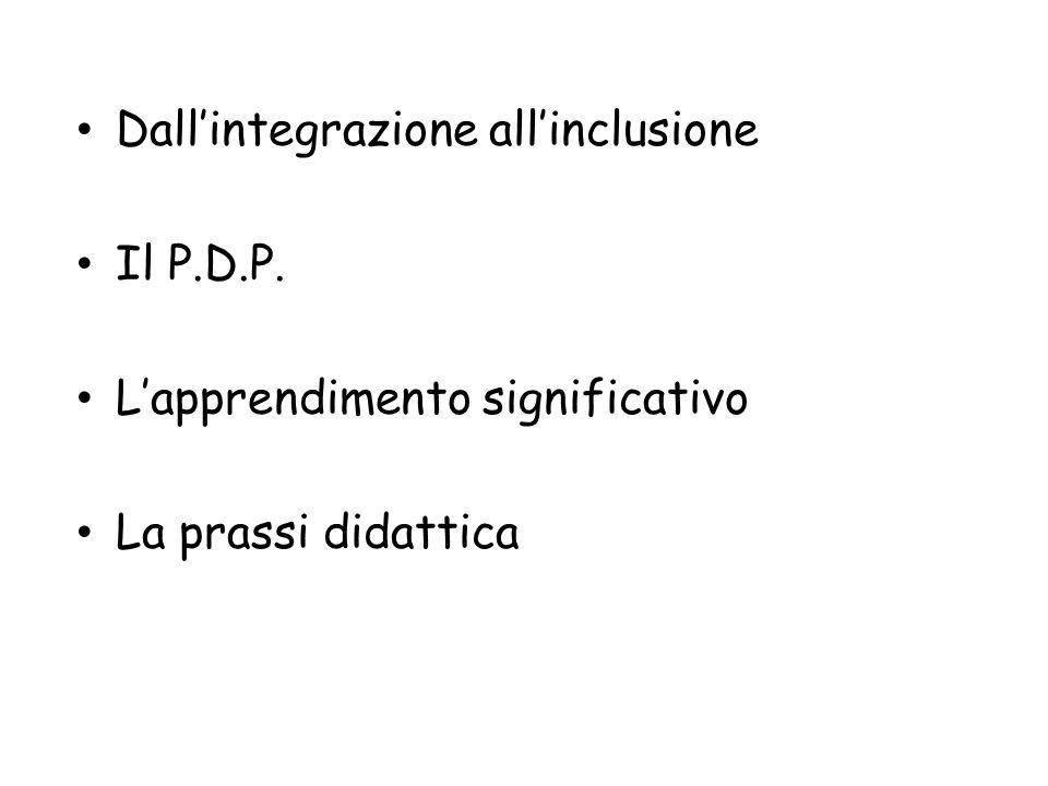 Dall'integrazione all'inclusione Il P.D.P. L'apprendimento significativo La prassi didattica