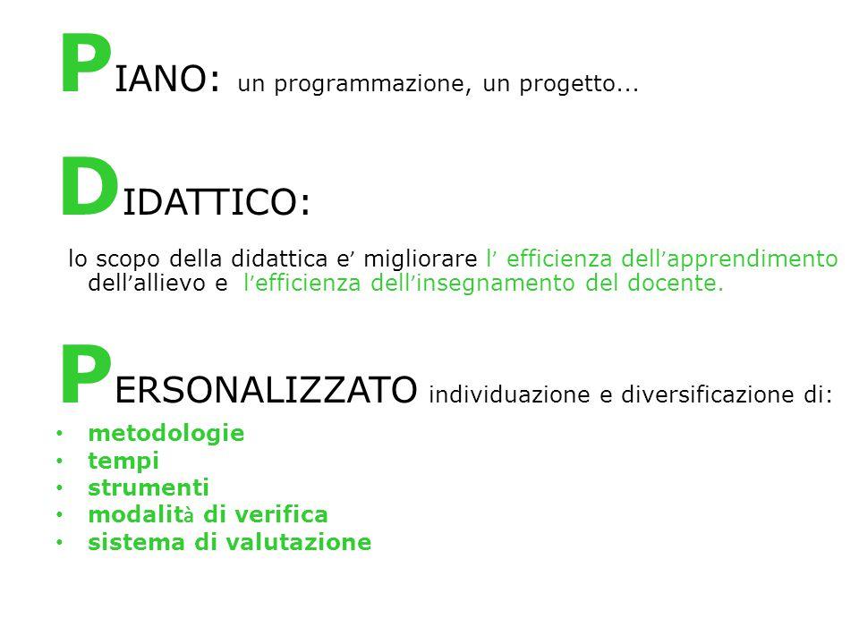 P IANO: un programmazione, un progetto... D IDATTICO: lo scopo della didattica e ' migliorare l ' efficienza dell ' apprendimento dell ' allievo e l '