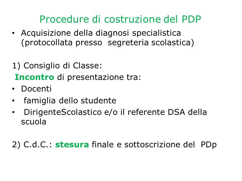 Procedure di costruzione del PDP Acquisizione della diagnosi specialistica (protocollata presso segreteria scolastica) 1) Consiglio di Classe: Incontr