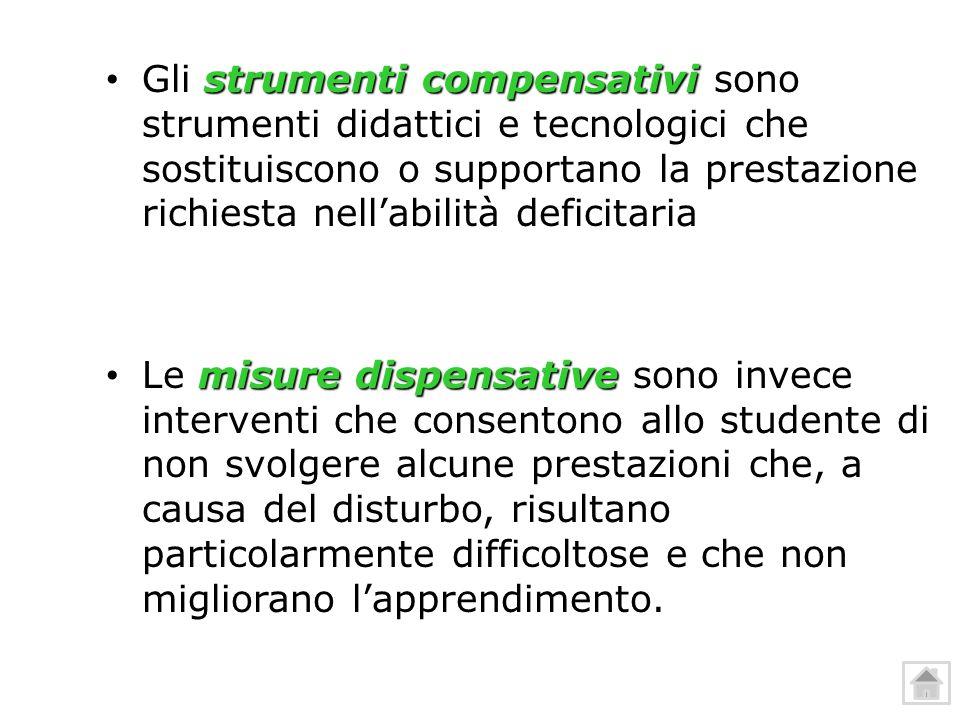 Gli strumenti compensativi sono strumenti didattici e tecnologici che sostituiscono o supportano la prestazione richiesta nell'abilità deficitaria Gli
