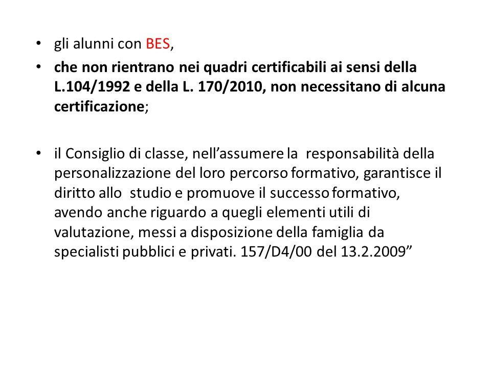 gli alunni con BES, che non rientrano nei quadri certificabili ai sensi della L.104/1992 e della L. 170/2010, non necessitano di alcuna certificazione