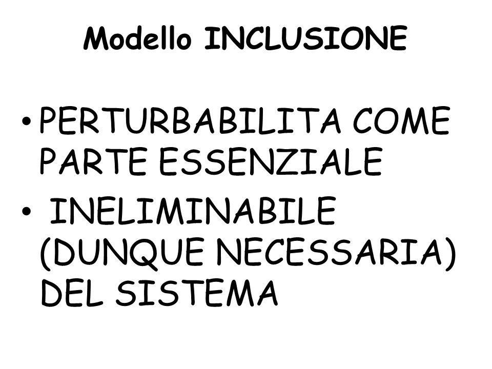 Modello INCLUSIONE PERTURBABILITA COME PARTE ESSENZIALE INELIMINABILE (DUNQUE NECESSARIA) DEL SISTEMA