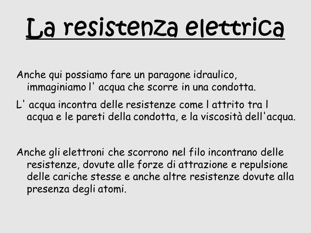 La resistenza elettrica Anche qui possiamo fare un paragone idraulico, immaginiamo l acqua che scorre in una condotta.