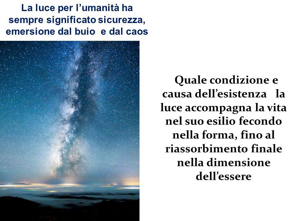 Quale condizione e causa dell'esistenza la luce accompagna la vita nel suo esilio fecondo nella forma, fino al riassorbimento finale nella dimensione dell'essere La luce per l'umanità ha sempre significato sicurezza, emersione dal buio e dal caos