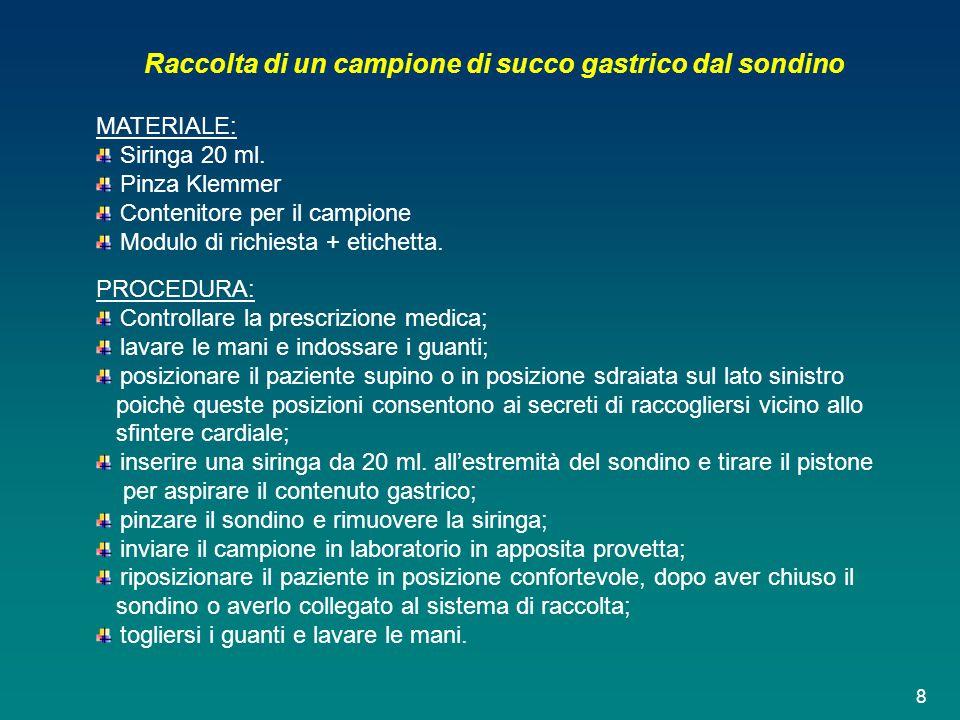 Raccolta di un campione di succo gastrico dal sondino MATERIALE: Siringa 20 ml. Pinza Klemmer Contenitore per il campione Modulo di richiesta + etiche