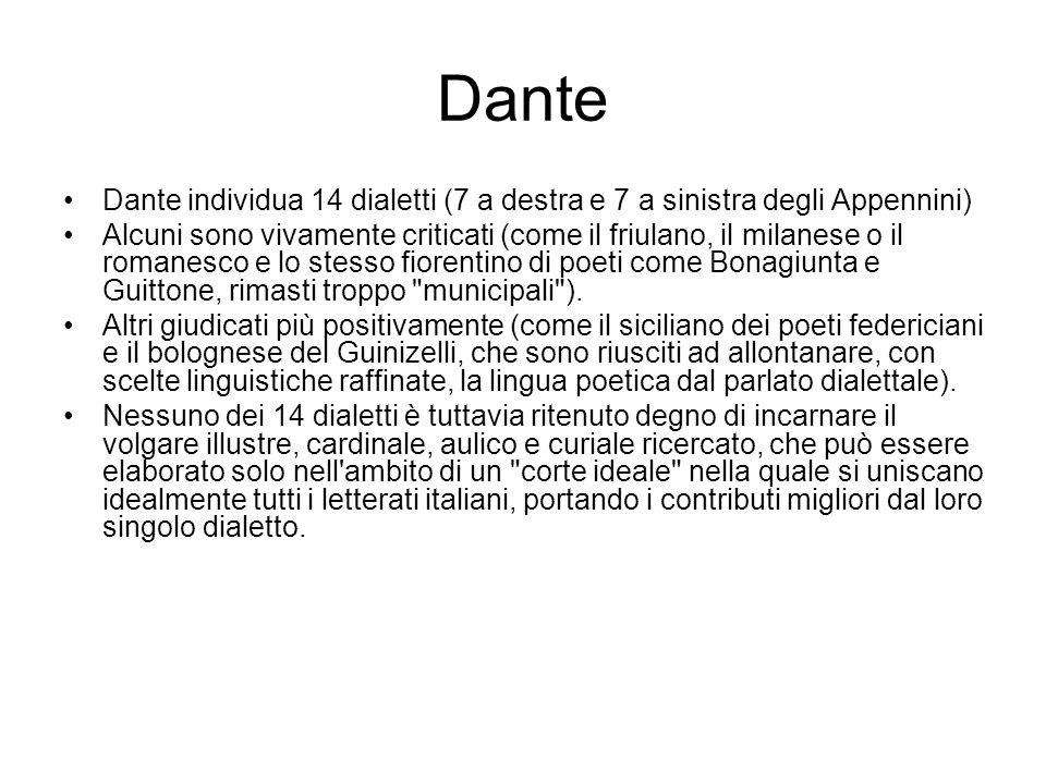 Dante Dante individua 14 dialetti (7 a destra e 7 a sinistra degli Appennini) Alcuni sono vivamente criticati (come il friulano, il milanese o il roma