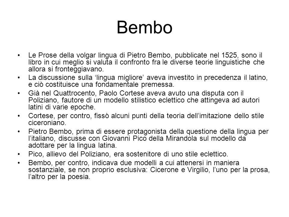 Bembo Le Prose della volgar lingua di Pietro Bembo, pubblicate nel 1525, sono il libro in cui meglio si valuta il confronto fra le diverse teorie ling