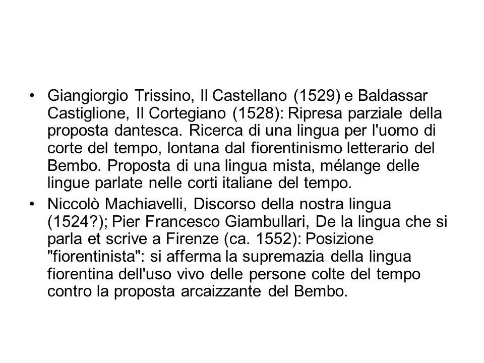 Giangiorgio Trissino, Il Castellano (1529) e Baldassar Castiglione, Il Cortegiano (1528): Ripresa parziale della proposta dantesca. Ricerca di una lin