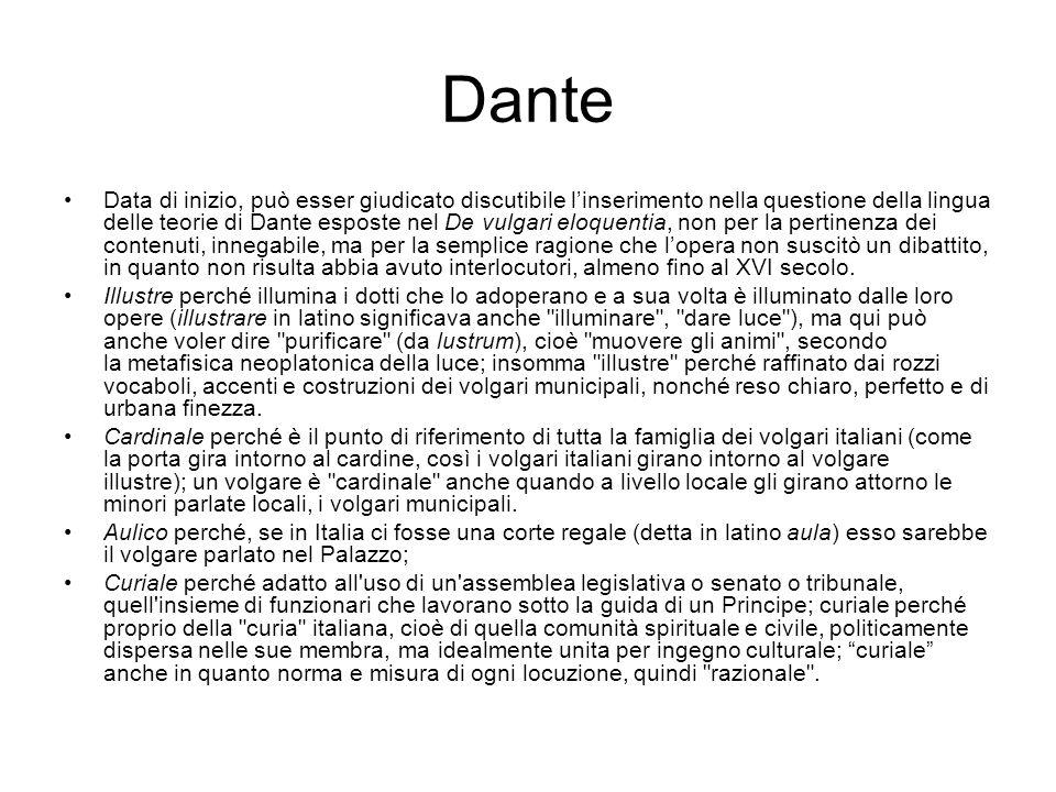 Dante Data di inizio, può esser giudicato discutibile l'inserimento nella questione della lingua delle teorie di Dante esposte nel De vulgari eloquent