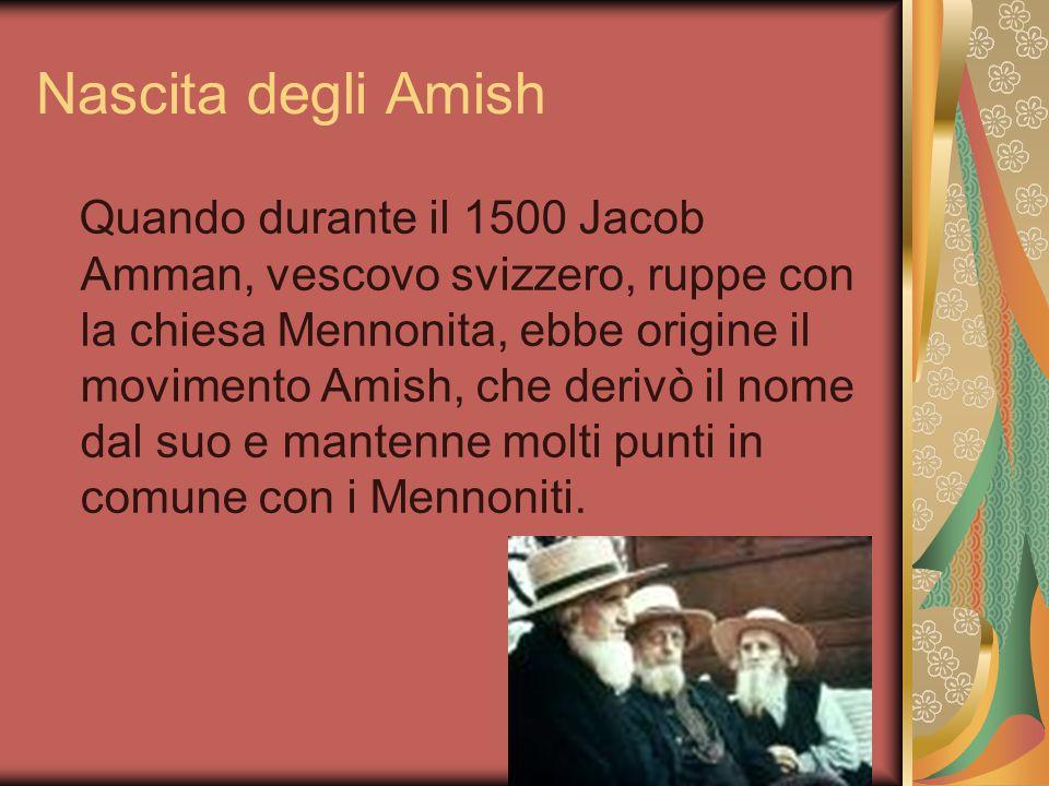 Nascita degli Amish Quando durante il 1500 Jacob Amman, vescovo svizzero, ruppe con la chiesa Mennonita, ebbe origine il movimento Amish, che derivò il nome dal suo e mantenne molti punti in comune con i Mennoniti.