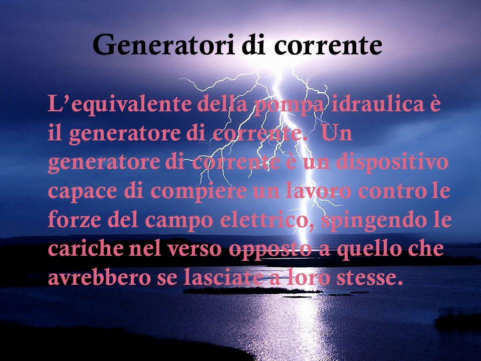 Generatori di corrente L'equivalente della pompa idraulica è il generatore di corrente.