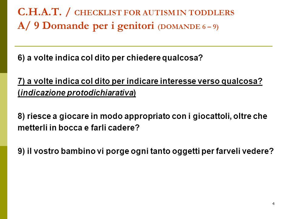 4 C.H.A.T. / CHECKLIST FOR AUTISM IN TODDLERS A/ 9 Domande per i genitori (DOMANDE 6 – 9) 6) a volte indica col dito per chiedere qualcosa? 7) a volte