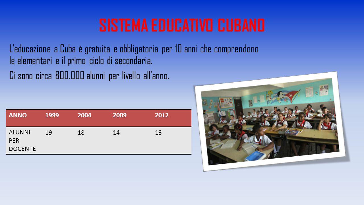 SISTEMA EDUCATIVO CUBANO L'educazione a Cuba è gratuita e obbligatoria per 10 anni che comprendono le elementari e il primo ciclo di secondaria. Ci so