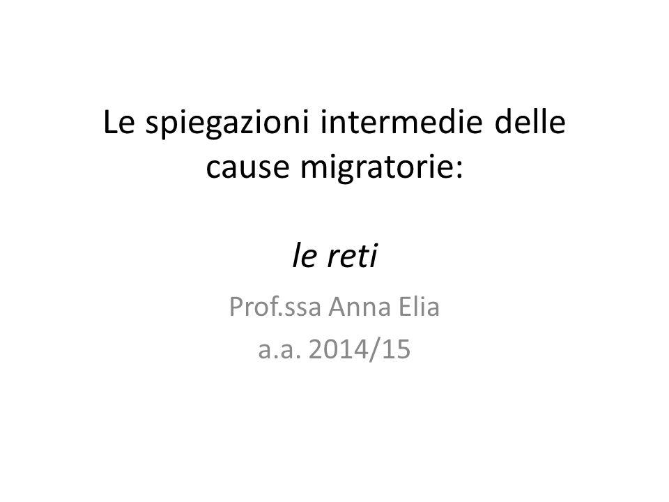 Le spiegazioni intermedie delle cause migratorie: le reti Prof.ssa Anna Elia a.a. 2014/15