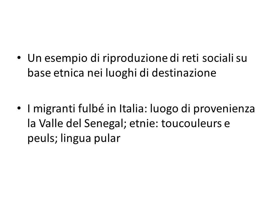 Un esempio di riproduzione di reti sociali su base etnica nei luoghi di destinazione I migranti fulbé in Italia: luogo di provenienza la Valle del Sen