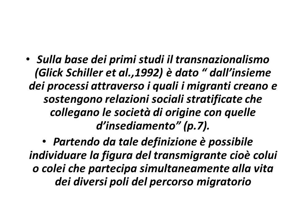 """Sulla base dei primi studi il transnazionalismo (Glick Schiller et al.,1992) è dato """" dall'insieme dei processi attraverso i quali i migranti creano e"""