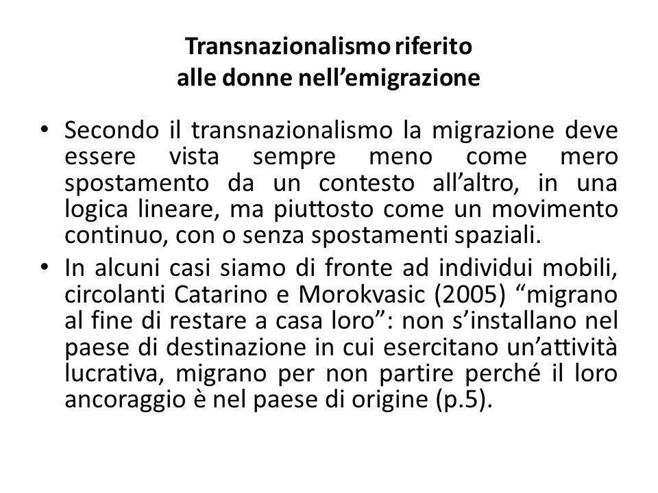 Transnazionalismo riferito alle donne nell'emigrazione Secondo il transnazionalismo la migrazione deve essere vista sempre meno come mero spostamento