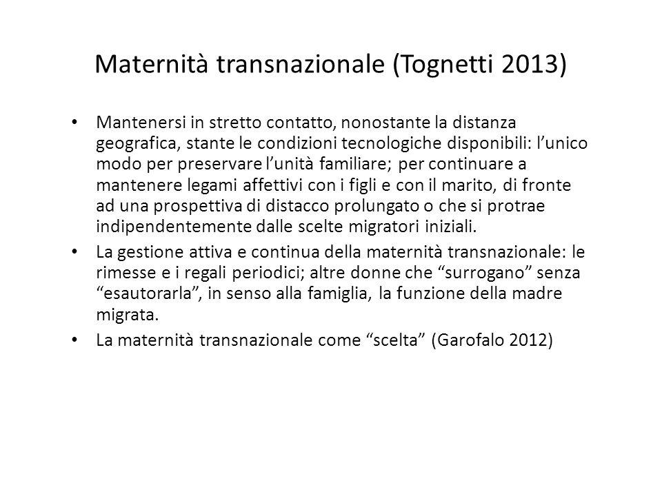 Maternità transnazionale (Tognetti 2013) Mantenersi in stretto contatto, nonostante la distanza geografica, stante le condizioni tecnologiche disponib