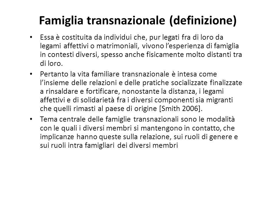 Famiglia transnazionale (definizione) Essa è costituita da individui che, pur legati fra di loro da legami affettivi o matrimoniali, vivono l'esperien