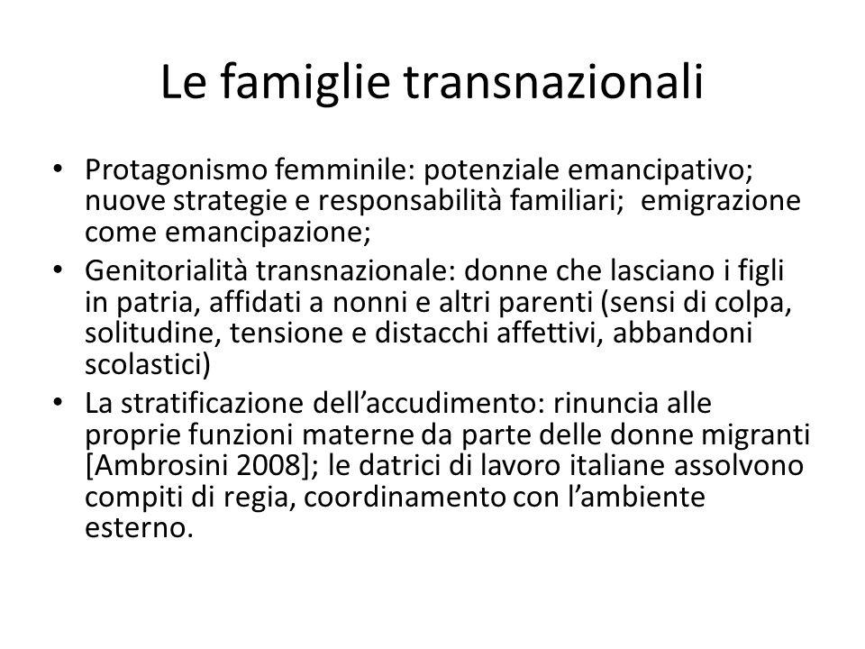 Le famiglie transnazionali Protagonismo femminile: potenziale emancipativo; nuove strategie e responsabilità familiari; emigrazione come emancipazione
