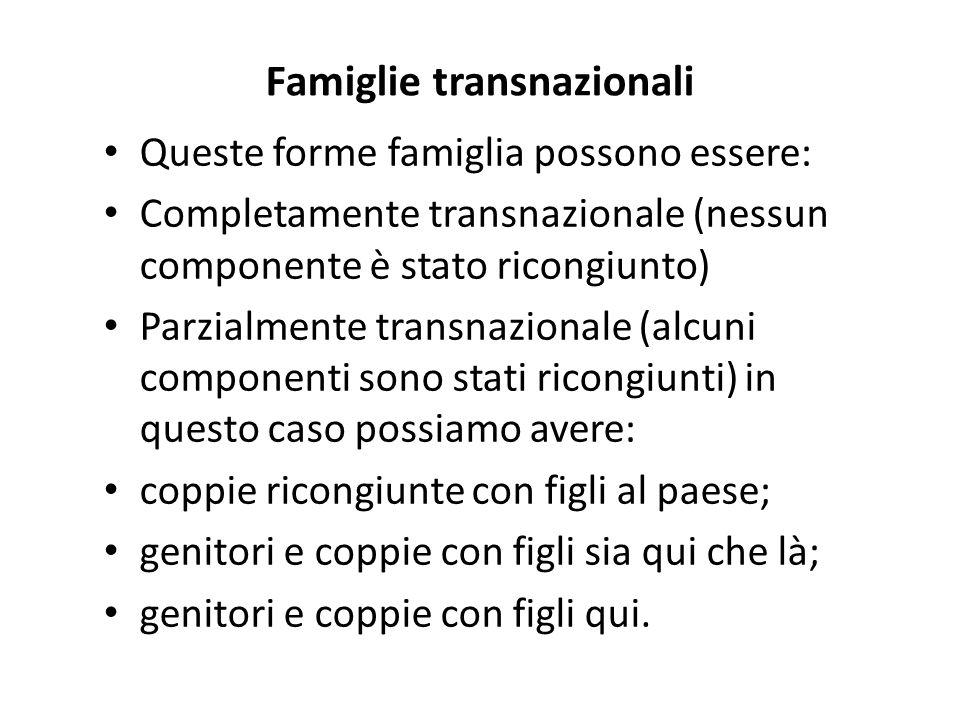 Famiglie transnazionali Queste forme famiglia possono essere: Completamente transnazionale (nessun componente è stato ricongiunto) Parzialmente transn