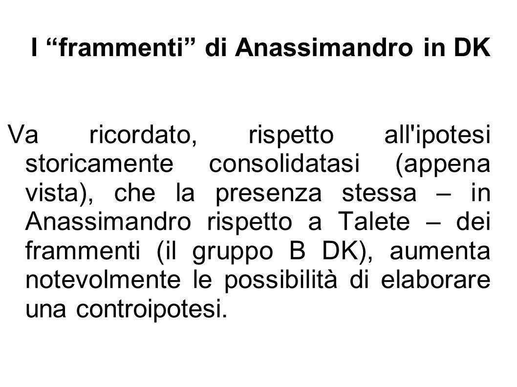 """I """"frammenti"""" di Anassimandro in DK Va ricordato, rispetto all'ipotesi storicamente consolidatasi (appena vista), che la presenza stessa – in Anassima"""