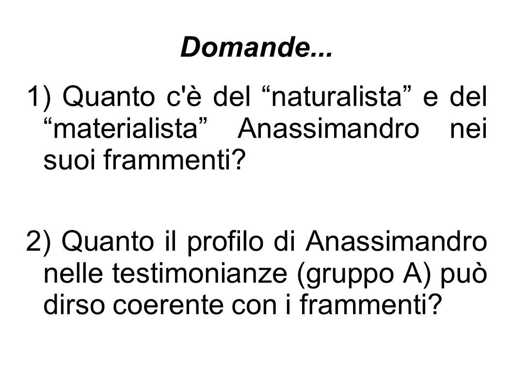 """Domande... 1) Quanto c'è del """"naturalista"""" e del """"materialista"""" Anassimandro nei suoi frammenti? 2) Quanto il profilo di Anassimandro nelle testimonia"""