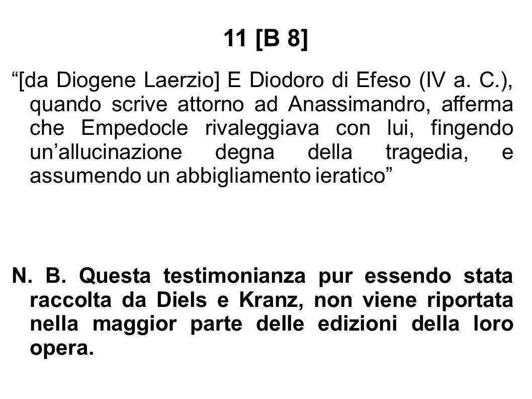 """11 [B 8] """"[da Diogene Laerzio] E Diodoro di Efeso (IV a. C.), quando scrive attorno ad Anassimandro, afferma che Empedocle rivaleggiava con lui, finge"""