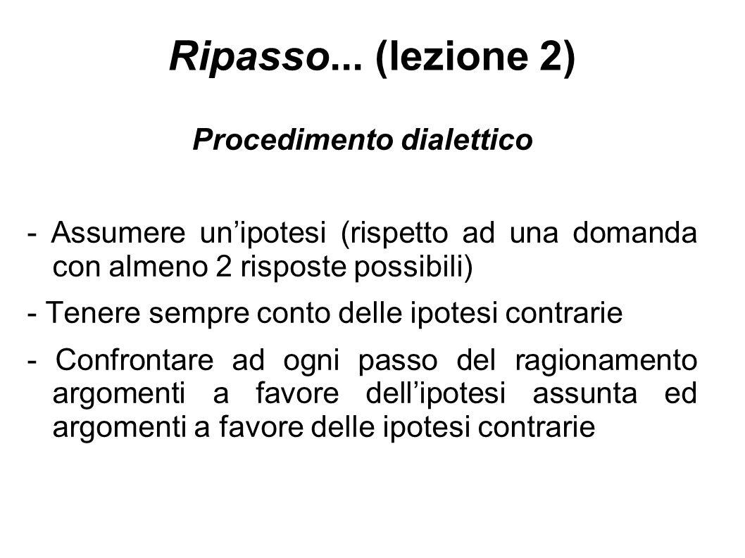Ripasso... (lezione 2) Procedimento dialettico - Assumere un'ipotesi (rispetto ad una domanda con almeno 2 risposte possibili) - Tenere sempre conto d